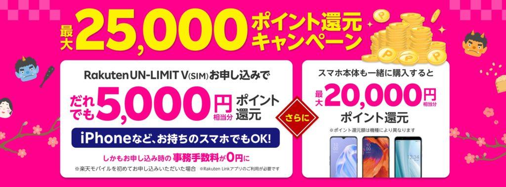 楽天モバイルの最大25000円相当分のポイント還元キャンペーン