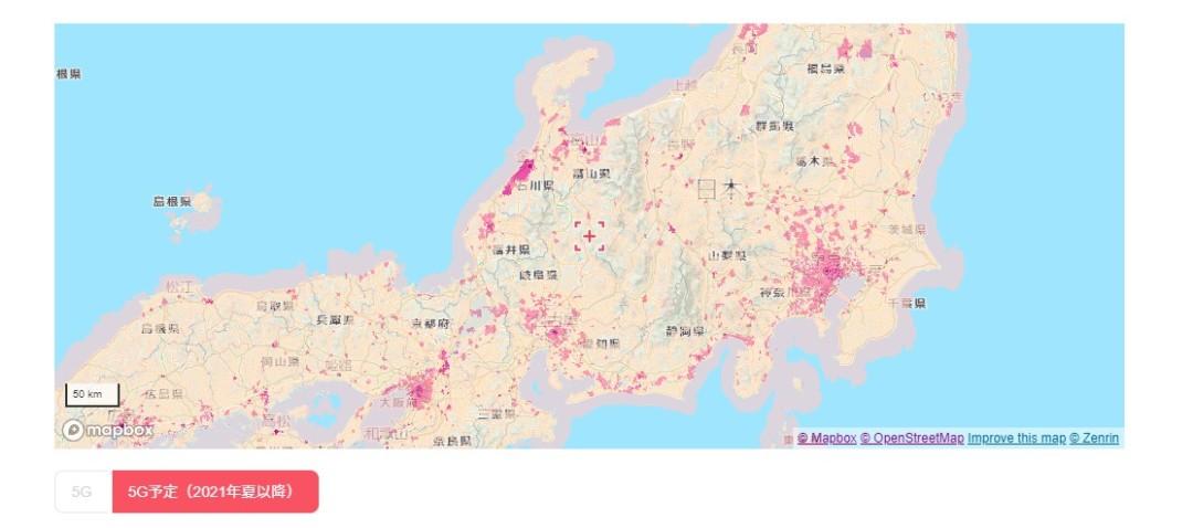 LINEMOの5Gエリア拡大予定エリア